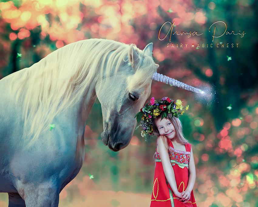 anrusa-paris-fairy-magic-chest - Digital background / backdrop realistic unicorn , bokeh, creamy forest - Fairy Magic Chest & Anrusa Paris - digital background / backdrop