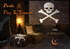 Pirate flaf and treasure digital overlay png , flag aged and new, and 2 pirate treasures opened and closed