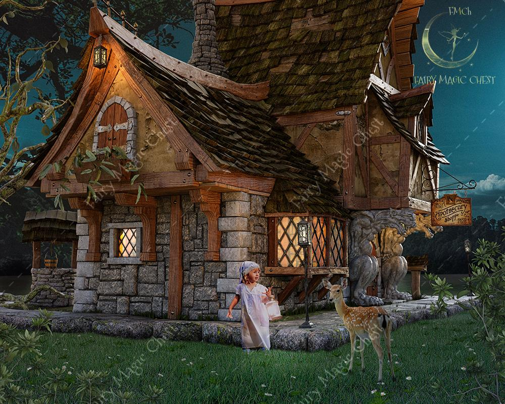 Digital background / backdrop with a house of fairy tales