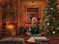 Christmas vintage digital background, desk on fairy tale house, with fireplace