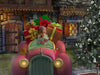 Christmas Digital Backdrop / Background . Happy fantasy pink car full of gifts, next to a charming house.