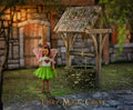 Digital background / backdrop  for photography, old water well next to fairytale house