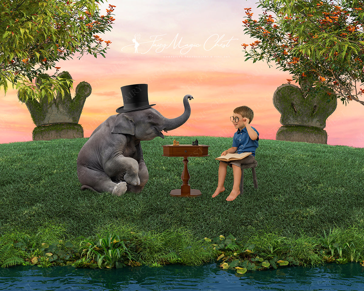 Baby elephant with top hat by the river playing chess. Digital Background for Composite Photography.