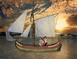 Digital backdrop for pirate of viking, boat on the sea at sunset.
