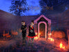 Halloween digital background / backdrop , crypt, tombs and pumpkins in fantasy cemetery.