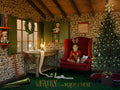 Christmas digital backdrop . Santa Claus armchair in his Workshop , digital backdrop for photography and Photoshop .