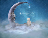Digital Background for composite photography, baby polar bear on the clouds, fantasy moon with face