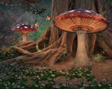 digital background / backdrop enchanted forest with magic mushrooms