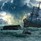 Digital background / backdrop storm on the sea