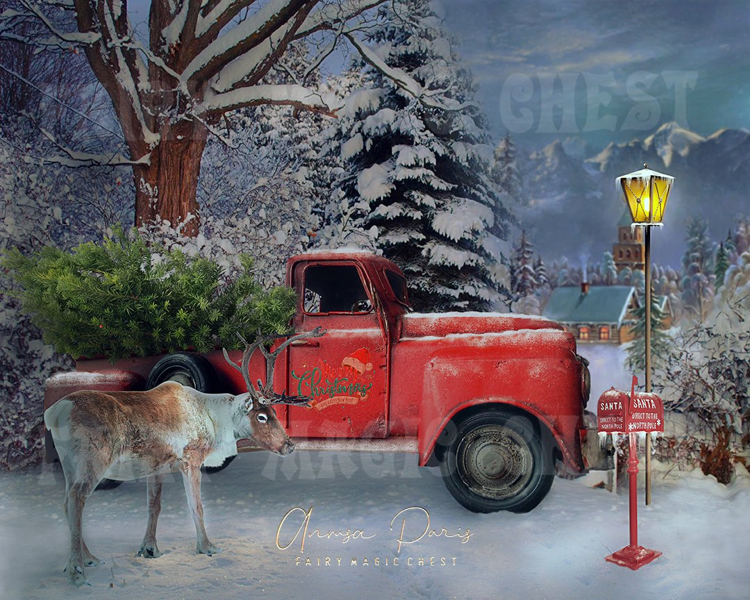 anrusa-paris-fairy-magic-chest,Christmas red truck with tree digital background / backdrop,Fairy Magic Chest & Anrusa Paris,digital background / backdrop