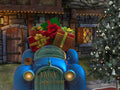Christmas Digital Backdrop / Background . Happy fantasy car full of gifts, next to a charming house.