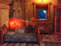 Digital background vintage kid bedroom on fairy tale house