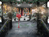 Christmas digital backdrop / background, Santa's mailbox on snowy bandstand.