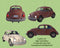 Vintage old car png overlay , retro ladybug , lights on