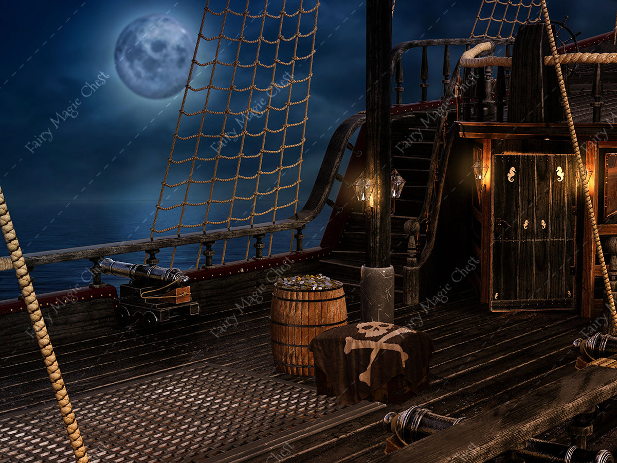 Digital background / backdrop for pirate , deck of ship black
