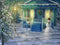 Christmas Digital backdrop / background , snowy Winter scene, snowman next to house