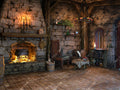 Digital background / backdrop Halloween , interior cottage with fireplace