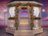 Spring digital background, vintage gazebo with flowers, digital backdrop for composite photography