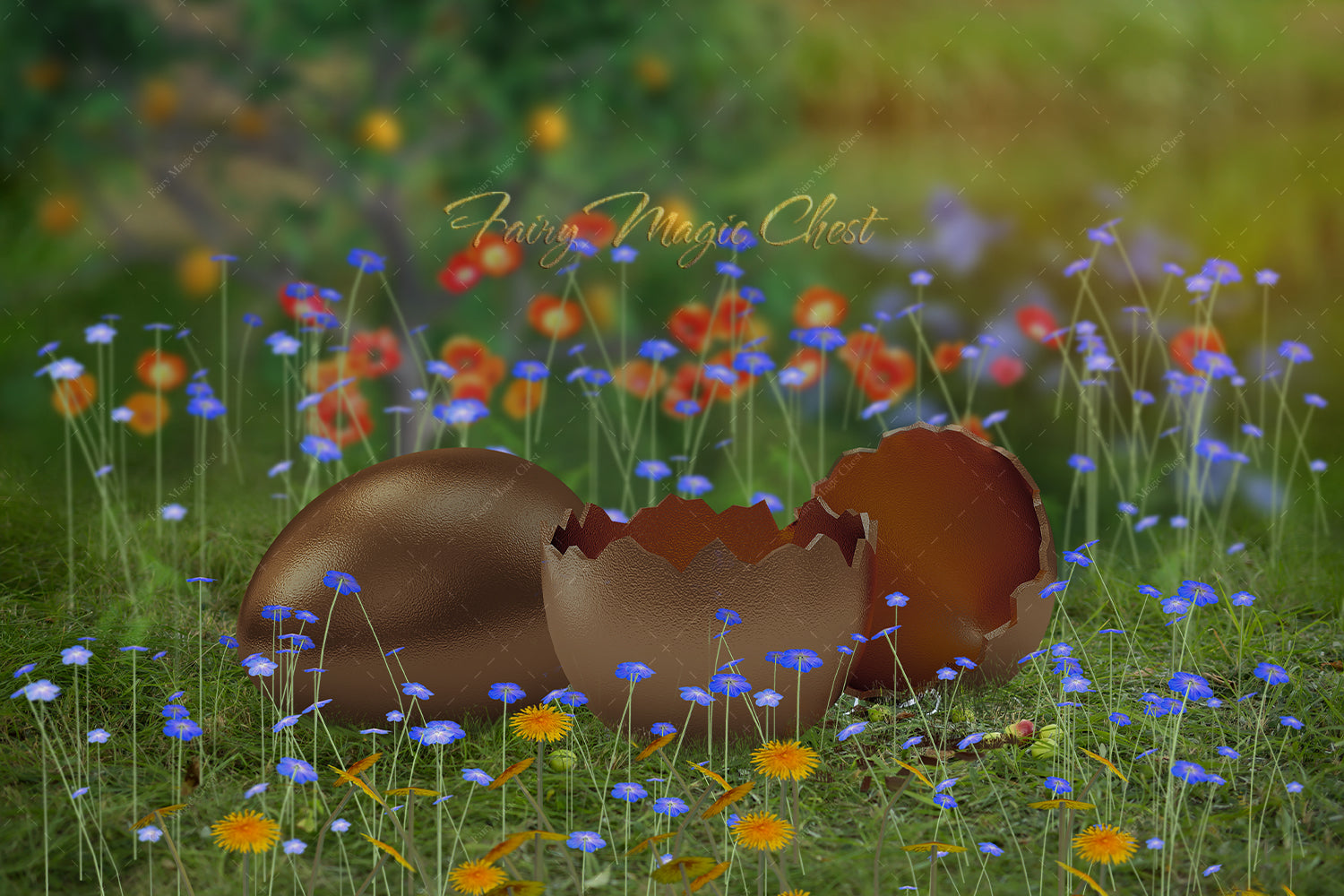 Easter digital backdrop, broken chocolate egg on the grass. Digital background for photography.