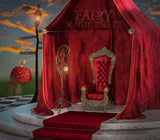 Wonderland digital backdrop. Red Throne of the Queen of Hearts. Digital background for composite photography.