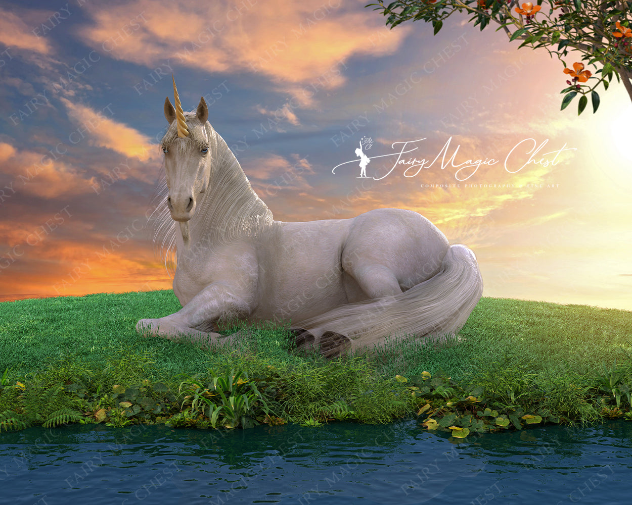 Unicorn by the river, digital background for Composite Photography. Digital Backdrop.