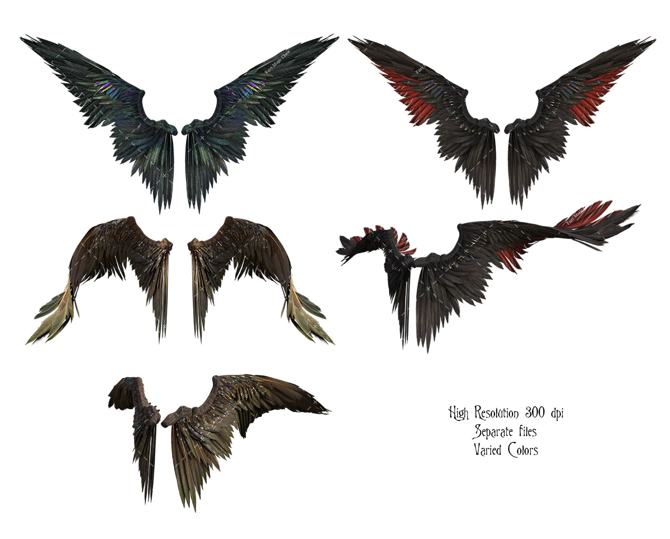 Magnificent Fantasy Wings, digital overlays, assorted colors
