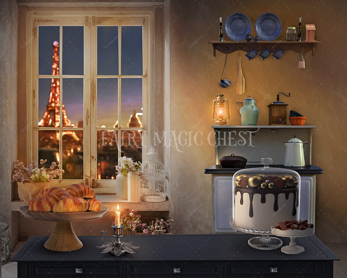 Digital background for photography, vintage kitchen in Paris, view of the Eiffel tower, digital backdrop for composite photography.