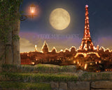 Digital background for photography, Paris view, big moon