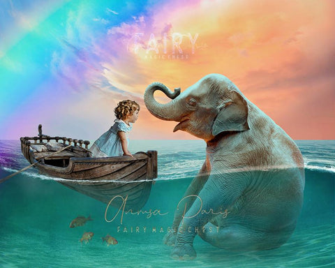 Baby elephant and boat digital background
