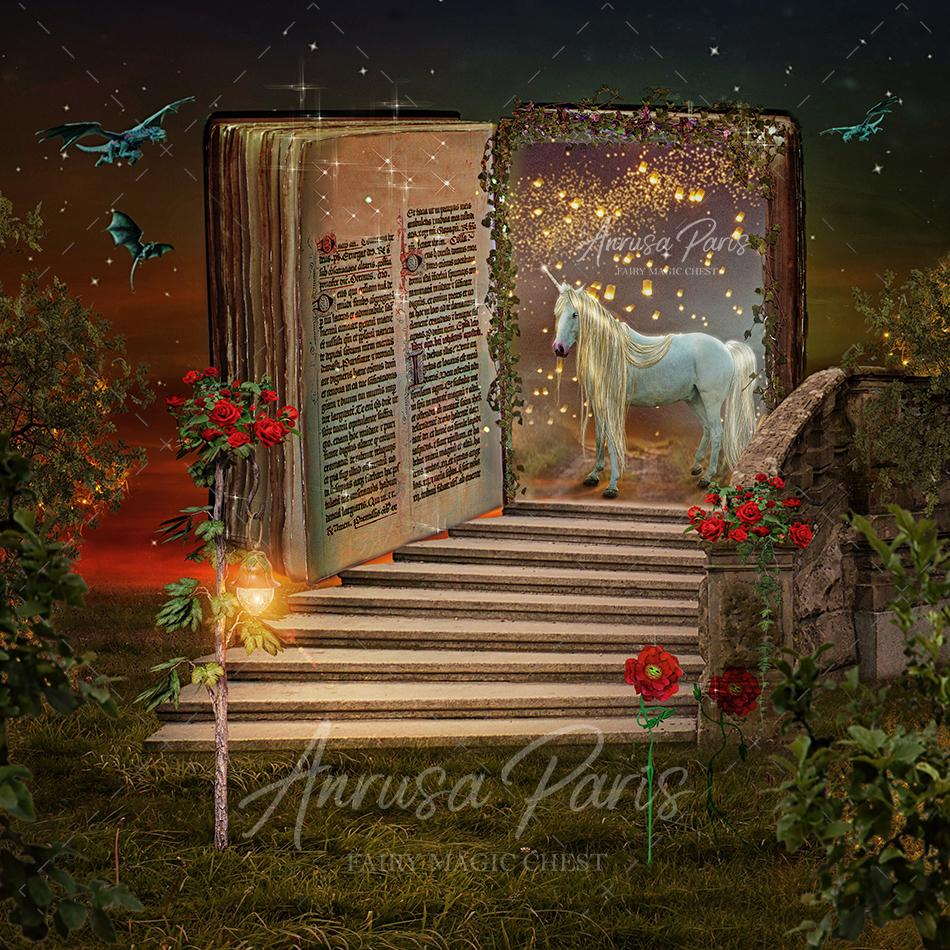 anrusa-paris-fairy-magic-chest - Digital background / backdrop with stairs, open book and unicorn. - Anrusa Paris & Fairy Magic Chest - digital background / backdrop
