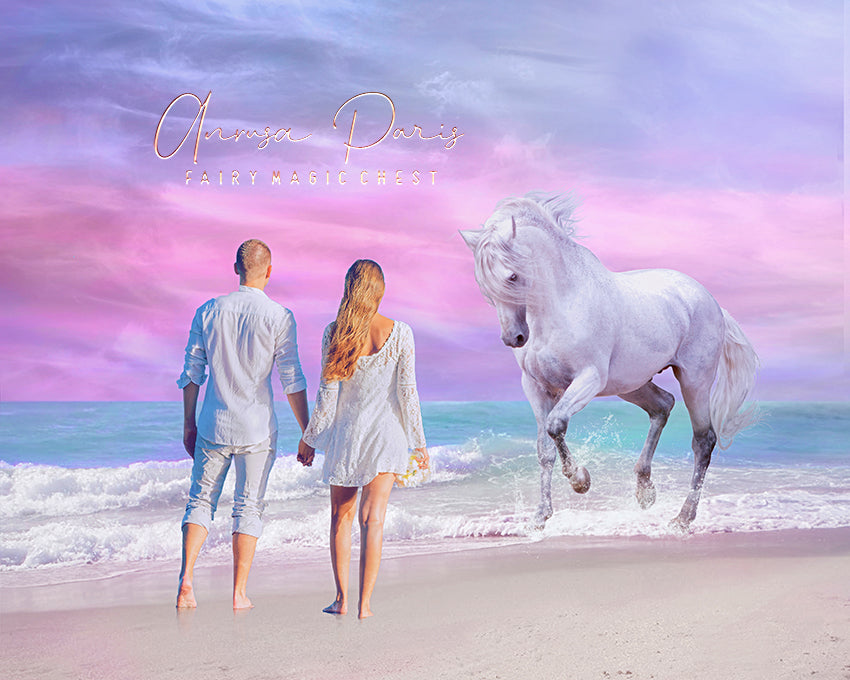 anrusa-paris-fairy-magic-chest - Summer digital background / backdrop , horse on beach , pastel sky - Fairy Magic Chest & Anrusa Paris - digital background / backdrop