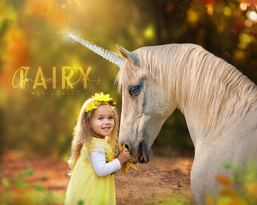 anrusa-paris-fairy-magic-chest - Digital Background / Backdrop Unicorn on golden creamy garden - Anrusa Paris & Fairy Magic Chest - digital background / backdrop