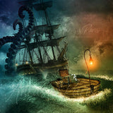 Digital background with giant octopus, great for pirate