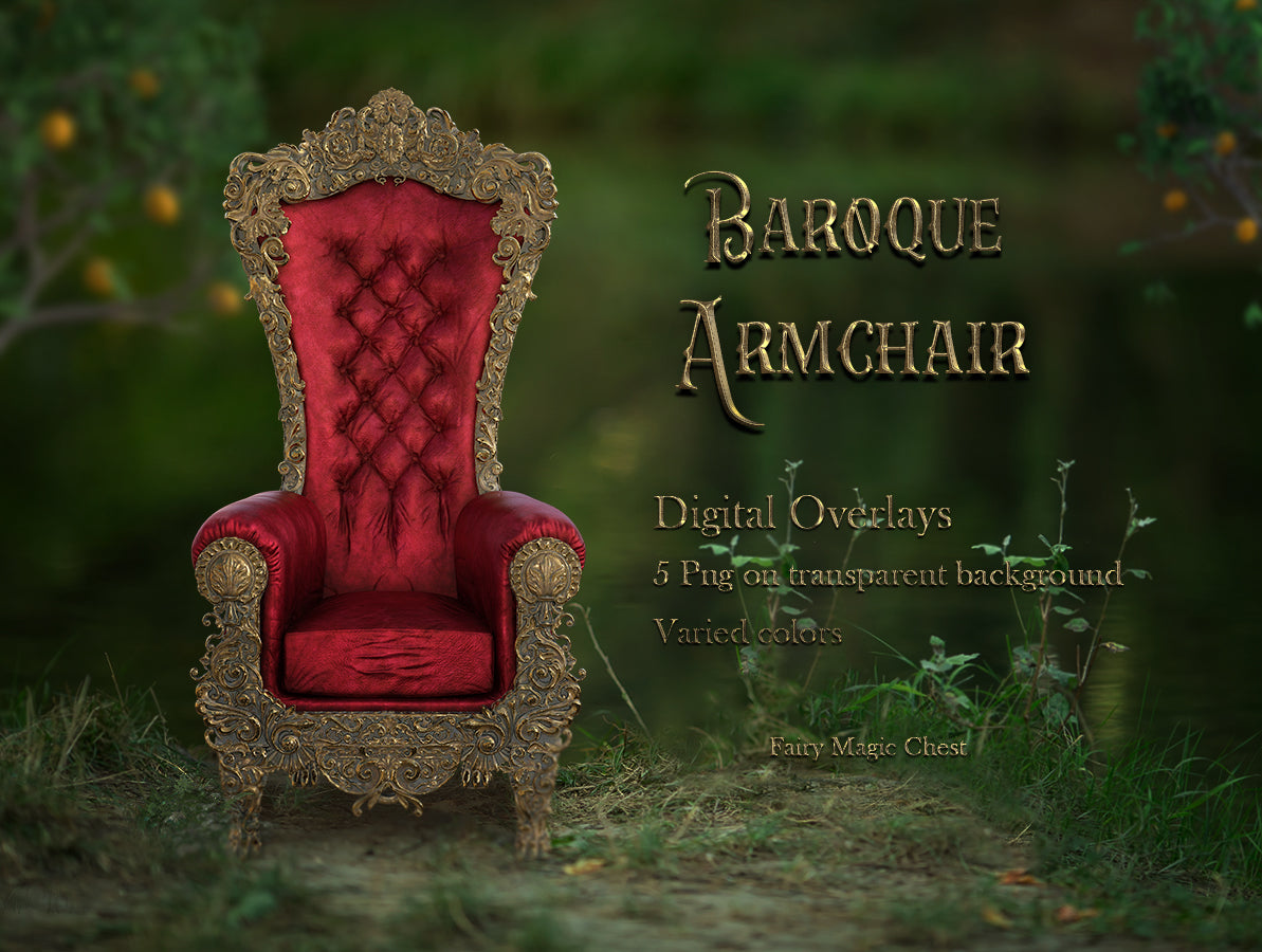 Baroque armchair, throne, digital overlay, png on transparent background, 5 files