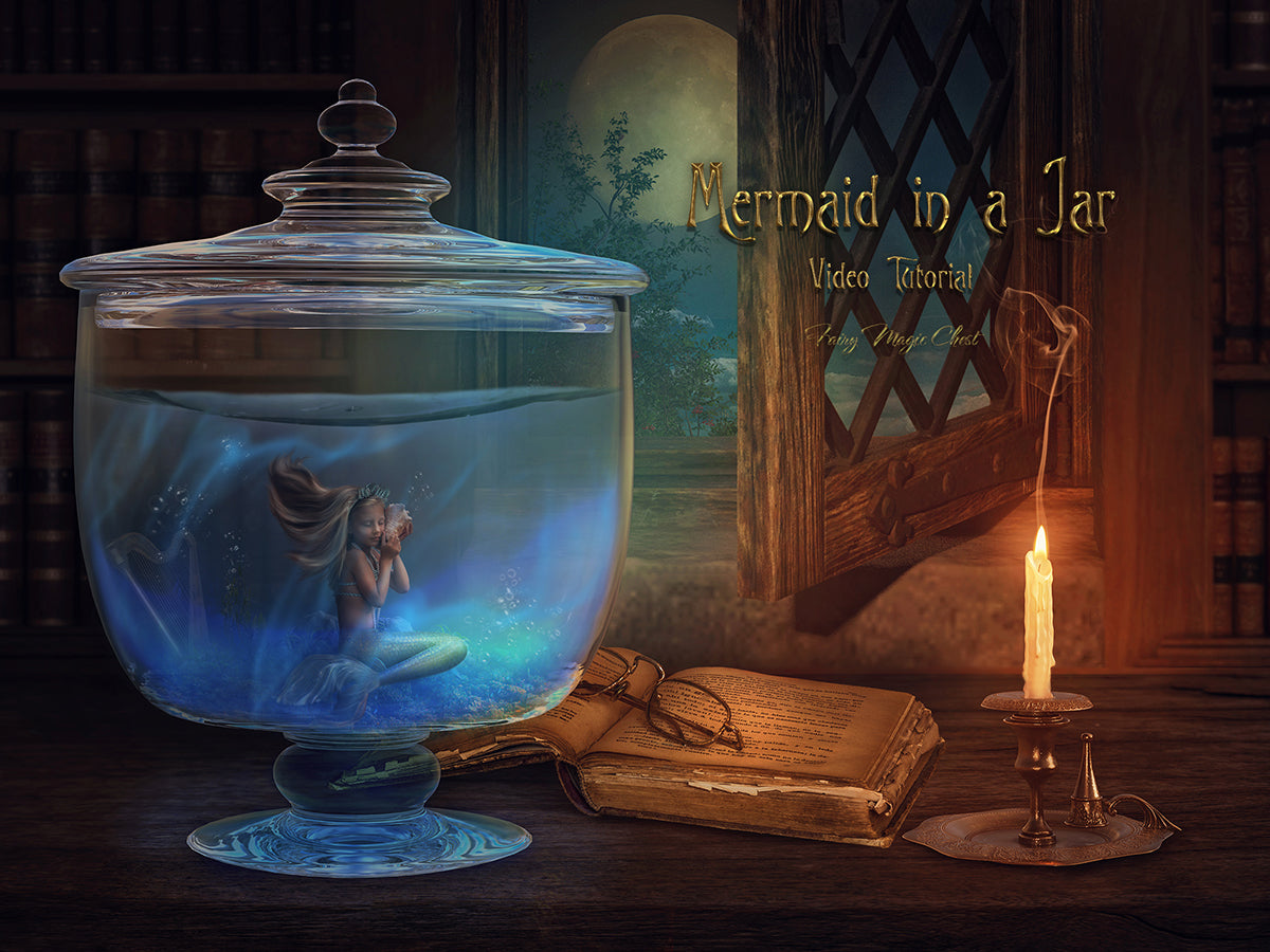 Video Tutorial. Complete work blending subject into a new digital backdrop with water. Mermaid in a Jar.