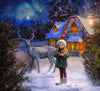 Christmas digital background , winter digital backdrop and snow overlay to place on top of the model, deer and charming house in snowy place