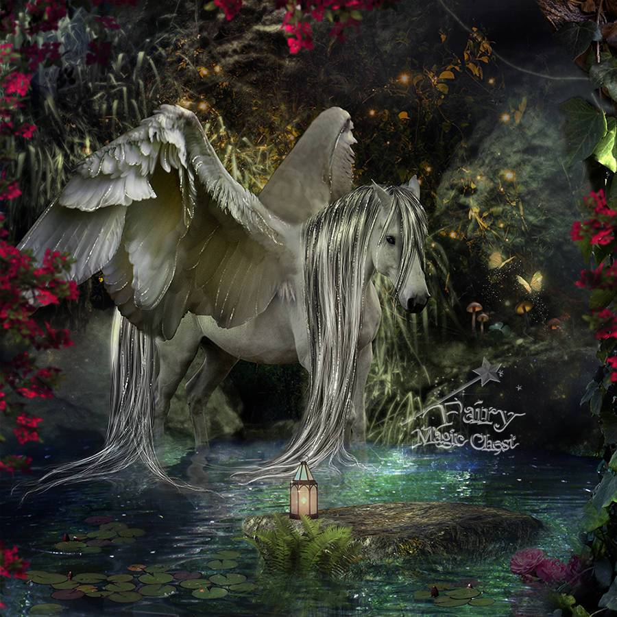 anrusa-paris-fairy-magic-chest - Digital background / backdrop , fantasy horse, Pegasus or Unisus, Unicorn with wings. - Anrusa Paris & Fairy Magic Chest - digital background / backdrop