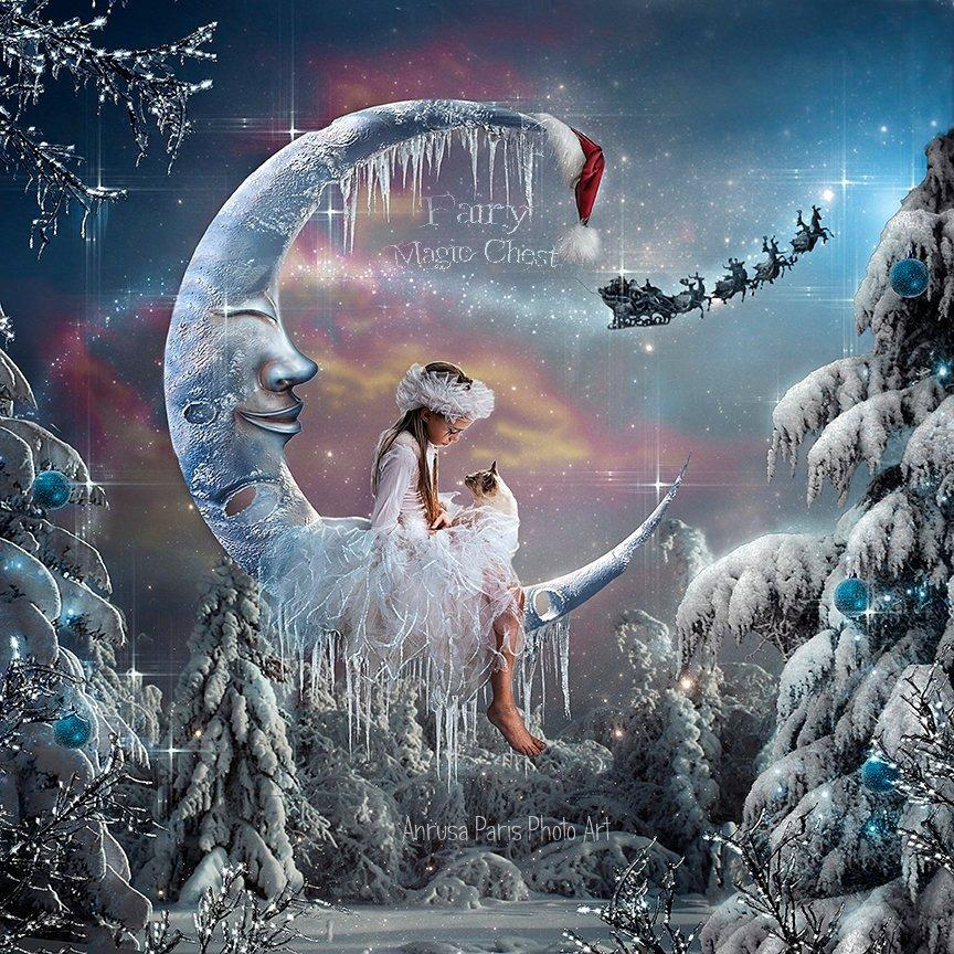 anrusa-paris-fairy-magic-chest - Christmas Moon digital background, Winter digital backdrop. - Anrusa Paris & Fairy Magic Chest - digital background / backdrop