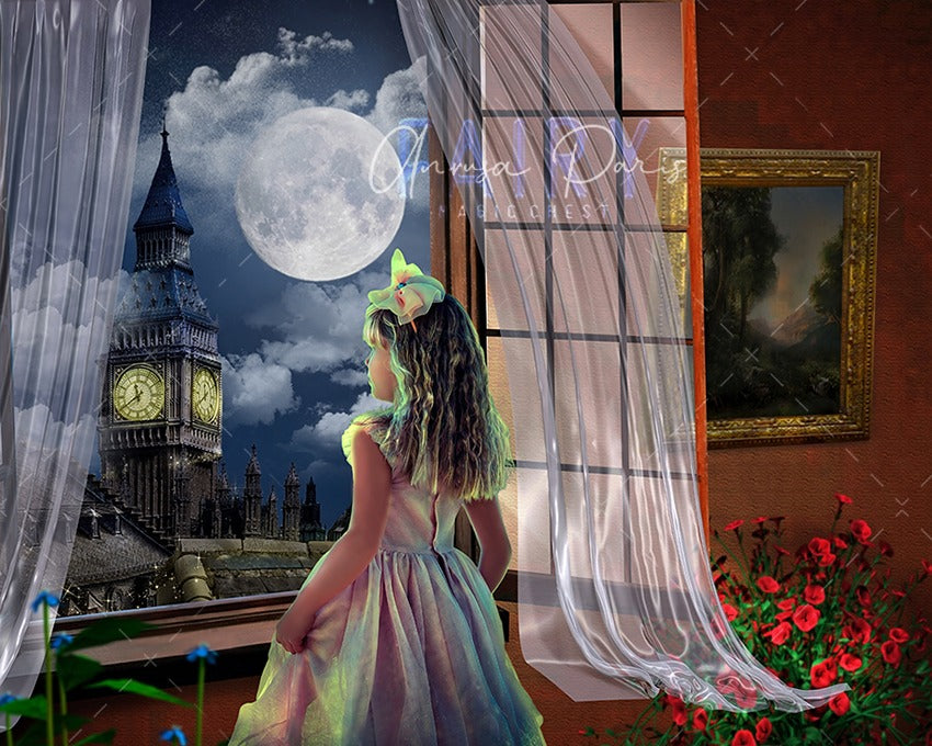 anrusa-paris-fairy-magic-chest - Window digital background / backdrop London , window , big moon, Big Ben - Anrusa Paris & Fairy Magic Chest - digital background / backdrop