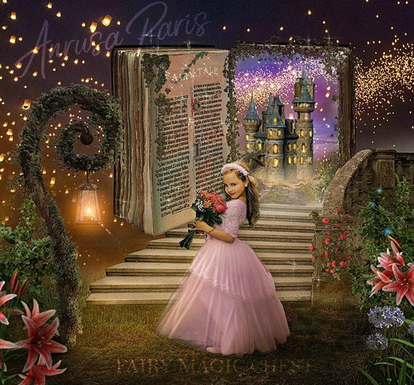 Digital background / backdrop open book and castle