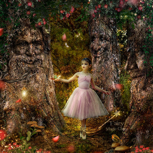 anrusa-paris-fairy-magic-chest - Trees with faces digital background / backdrop , enchanted forest - Anrusa Paris & Fairy Magic Chest - digital background / backdrop