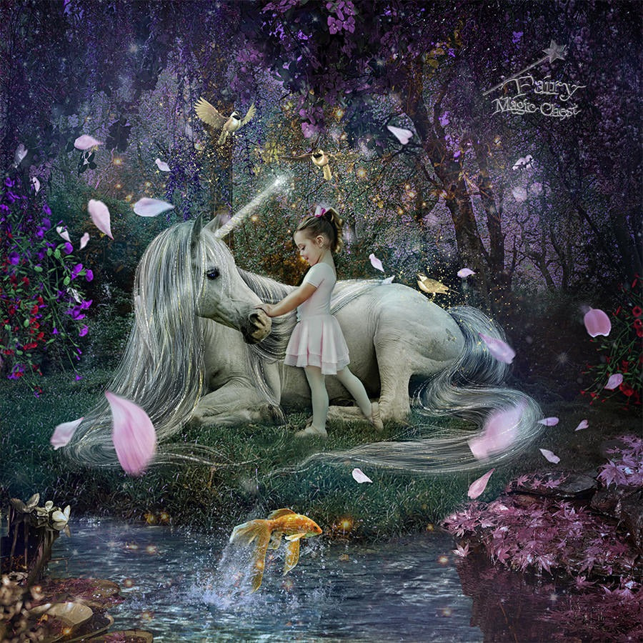 anrusa-paris-fairy-magic-chest - Unicorn digital background, enchanted forest with golden birds - Anrusa Paris & Fairy Magic Chest - digital background / backdrop