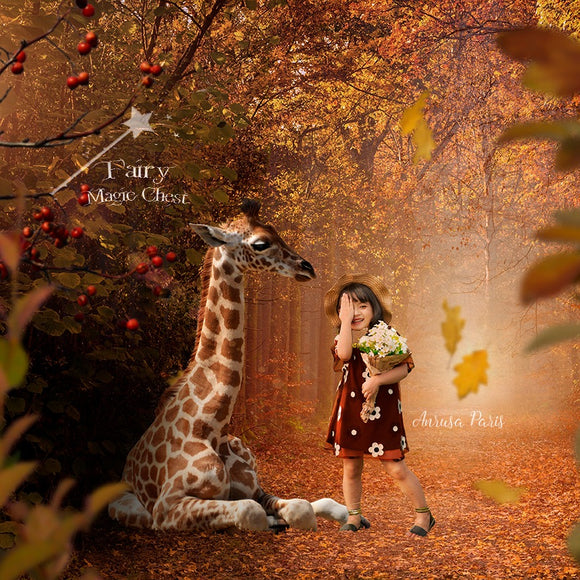 Digital background baby giraffe , autumn