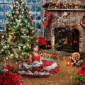 anrusa-paris-fairy-magic-chest - Christmas digital background, backdrop with fireplace and Christmas Tree. - Anrusa Paris & Fairy Magic Chest -