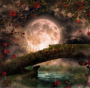 anrusa-paris-fairy-magic-chest - Tree log on lake digital background / backdrop . Big moon - Anrusa Paris & Fairy Magic Chest - digital background / backdrop