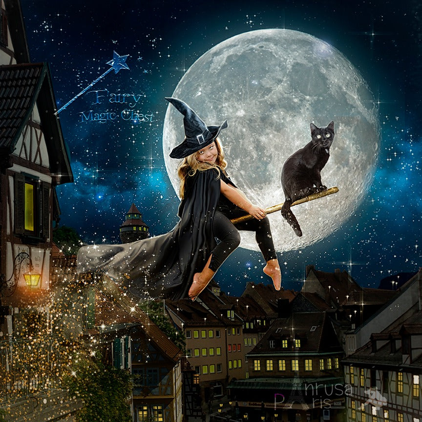 anrusa-paris-fairy-magic-chest - Witch or Wizard digital background, great for Halloween, flying with the broom - Anrusa Paris & Fairy Magic Chest - digital background / backdrop