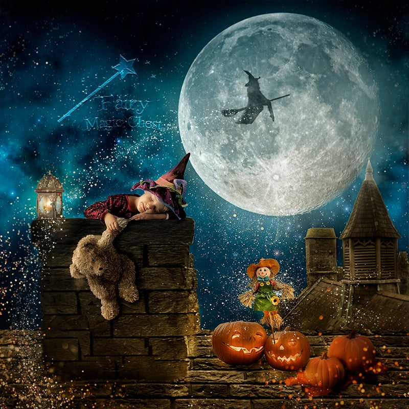anrusa-paris-fairy-magic-chest - Halloween digital background, roof chimney, 2 versions - Anrusa Paris & Fairy Magic Chest - digital background / backdrop