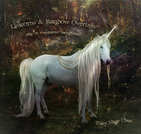 Realistic Unicorn Overlay, majestic horse with long mane