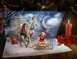 Christmas digital backgrounds simulating an open card, with Unicorn, and with or without sled - Anrusa Paris, Fairy Magic Chest