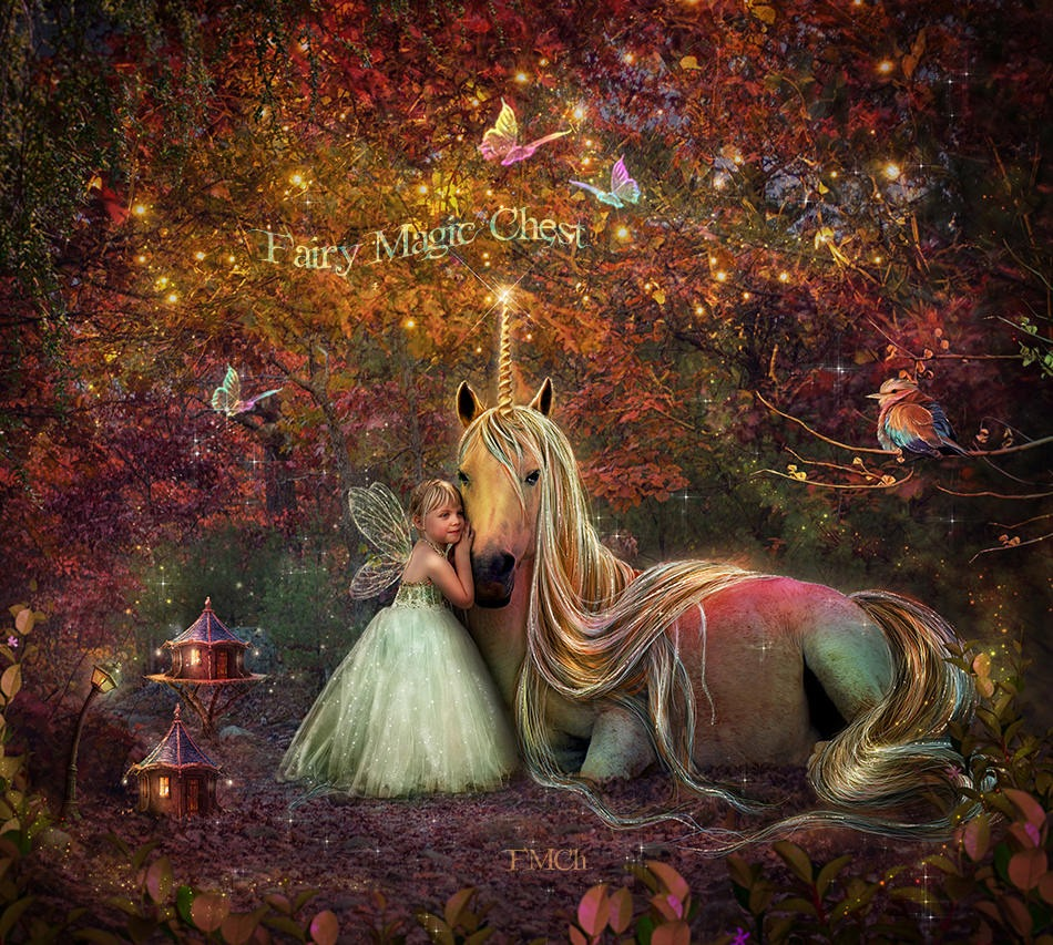 anrusa-paris-fairy-magic-chest - Unicorn digital background - Anrusa Paris & Fairy Magic Chest - digital background / backdrop